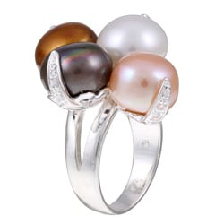 Kabella Sterling Silver Multi-color Freshwater Pearl and Cubic Zirconia Ring (11-12 mm)