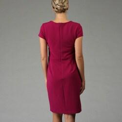 Tiana B. Women's Ottoman Surplice Neckline Cap Sleeve Dress
