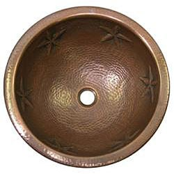 Star Round Copper Self Rim Antique Finish Bathroom Sink
