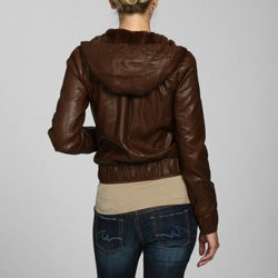 Miss Sixty Women's Faux Leather Hooded Bomber Coat - Overstock