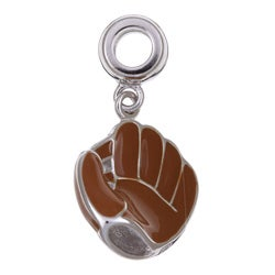 Signature Moments Silver and Brown Enamel Baseball Mitt Charm Bead