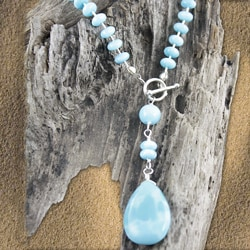 Liquid Sterling Silver and Larimar Toggle Necklace (USA)