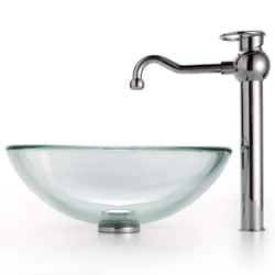 Kraus Clear Glass Vessel Sink and Bathroom Faucet