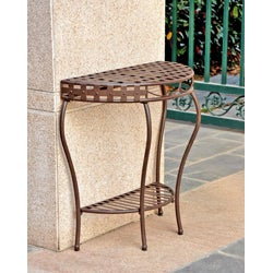 Santa Fe Nailhead 2-tier Half Moon Table