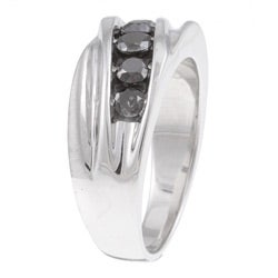 Sterling Silver Men's 1ct TDW Black Diamond Ring