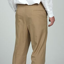 Sansabelt Men's Camel Flat Front Wool Trousers