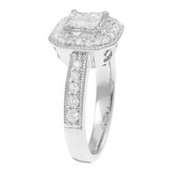 14k White Gold 3/4ct TDW Diamond Engagement Halo Ring (H-I, I1-I2)