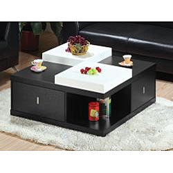 Mareines Black Coffee Table with Serving Trays