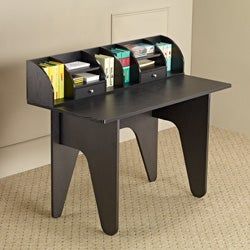 Vio Black Office Desk/ Mini Hutch