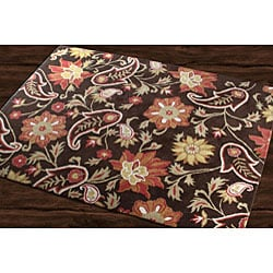 Hand Tufted Metro Flower Chocolate Wool Rug 5 X 8