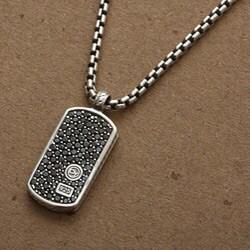 David Yurman Men's Sterling Silver Black Diamond Necklace