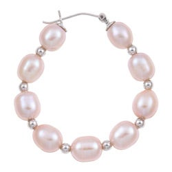 Kabella Sterling Silver Pink Freshwater Pearl and Bead Hoop Earrings (7-9 mm)