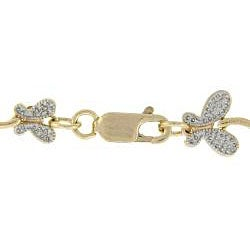 18k Yellow Gold over Sterling Silver Diamond Accent Butterfly Bracelet