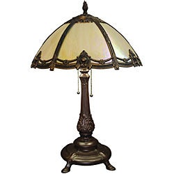 Tiffany-style 2-light Bronze Victorian Table Lamp