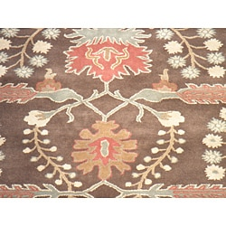 Indo Hand-tufted Mahal Brown Wool Rug (8'9 x 11'9)