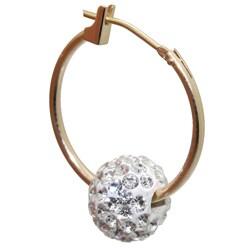 10k Yellow Gold White Crystal Ball Slider Hoop Earrings