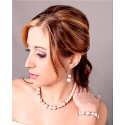 White Glass Pearl Bead and Crystal Rhinestone Jewelry Set