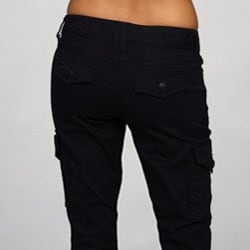 Cool RUE21 Black Womens Cotton Skinny Fit Cargo Pants Pockets Ankle Straps