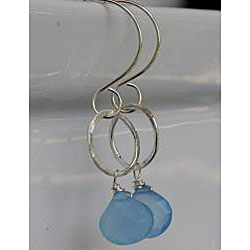 Sterling and Fine Silver with Light Blue Chalcedony Earrings