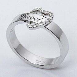 Gucci 18k White Gold Diamond Heart Ring