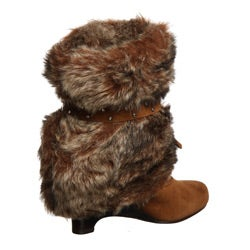 Naughty Monkey Women's 'D Lux' Fold-over Faux Fur Wedge Boot