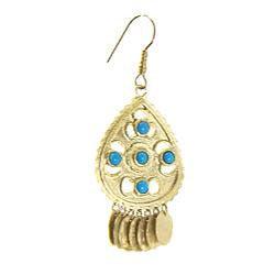 Adee Waiss Gold Overlay Turquoise Magnesite Dangle Earrings