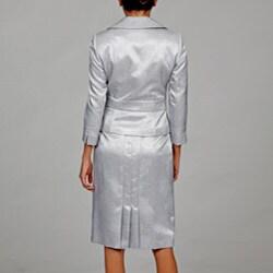 Tahari ASL Women's Silver Embossed Skirt Suit