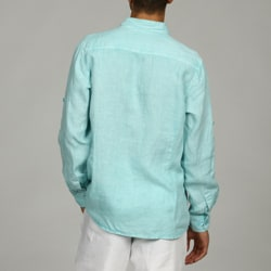 Natural Blue Men's Enzyme Wash Linen Shirt