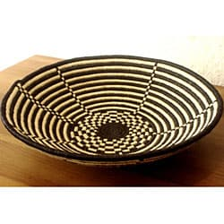 Plant Fiber Black and White Plateau Basket (Rwanda)