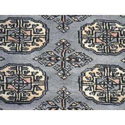 Pakistani Hand-knotted Grey/ Ivory Bokhara Wool Rug