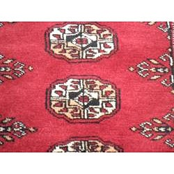Pakistani Hand-knotted Red/Ivory Bokhara Wool Runner (2'6 x 10')