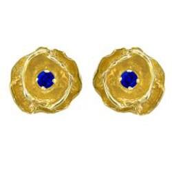 10k Gold September Birthstone Created Sapphire Flower Stud Earrings