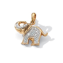 Isabella Collection 10k Gold Diamond Accent Elephant Pendant