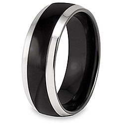 West Coast Jewelry Stainless Steel Black-plated Inlay Ring
