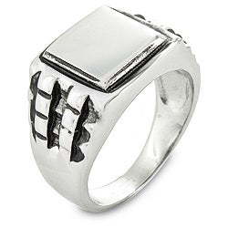 West Coast Jewelry Stainless Steel Black Textured Ring