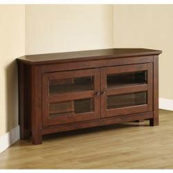 44 in. Brown Wood Corner TV Stand