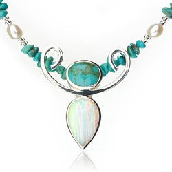 Sterling Silver Turquoise/ Pearl/ Opal 'Graceful Woman' Necklace (USA)