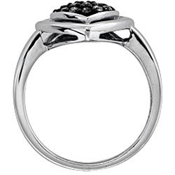 SilverMist Sterling Silver 1/4ct TDW Grey Diamond Heart Ring  (size 7)