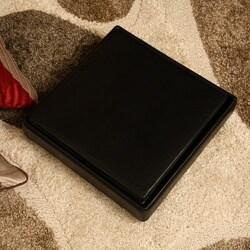 Ann Black Faux Leather Storage Ottoman