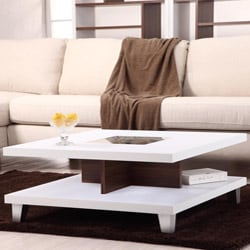 Helena White and Walnut 2-Leveled Coffee Table