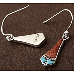 Sterling Silver Coral and Turquoise Inlay Earrings (Thailand)