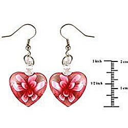 Murano-inspired Glass Pink Flower Heart Earrings