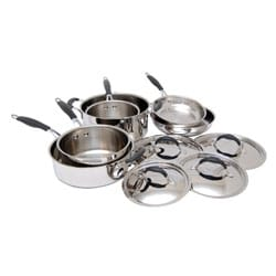 Le Chef Potobelo 10-piece Comfort Grip Stainless Steel Cookware Set