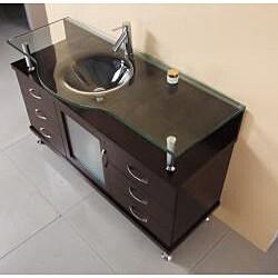 Virtu USA Vincente 55-inch Single Sink Bathroom Vanity Set