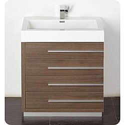 Fresca Livello 30-inch Grey Oak Bathroom Vanity and Medicine Cabinet
