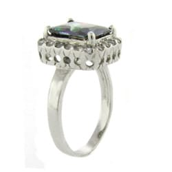 Dolce Giavonna Sterling Silver Square-cut Mystic and Clear Cubic Zirconia Ring
