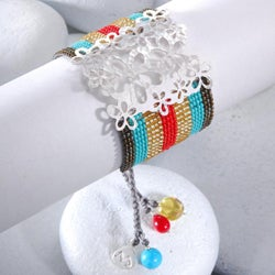 Sterling Silver Wild Flowers Beaded Bracelet (Colombia)