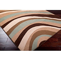 Meticulously Woven Contemporary Free-form Multi Colored Stripe Geometric Abstract Rug (5'3 x 7'6)