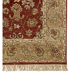 Hand-knotted Esteem Red Wool Rug (2' x 3')