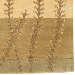 Hand-knotted Beige Floral Neoteric Beige Semi-Worsted Wool Rug (5' x 8')